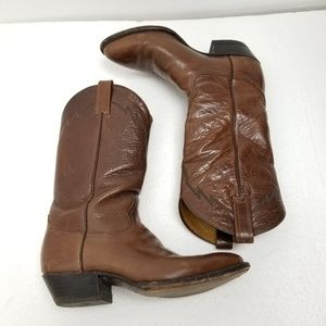 Tony Lama Boots Brown Embroidered Western 8.5 D